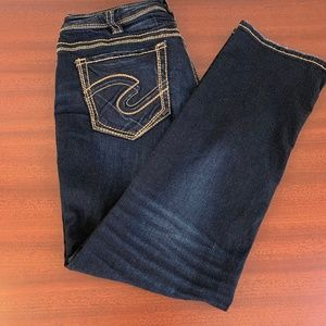 Silver Mid Straight Dark Wash Jeans